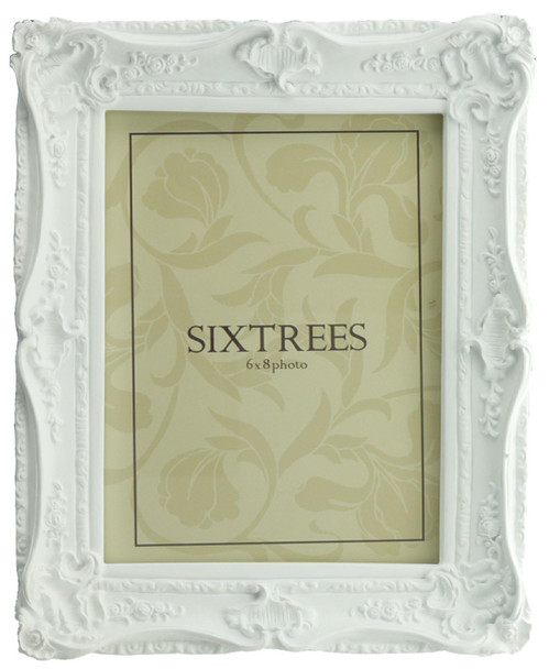 Sixtrees Chelsea 5-254-68 Shabby Chic Style Very Ornate Matt White 8x6 inch Photo Frame