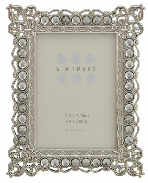 """Sixtrees Adelaide Antique Vintage and Shabby Chic Style silver metal photo frame with beads and crystals for a 3.5"""" x 2.5"""" (64 x 89mm) picture"""