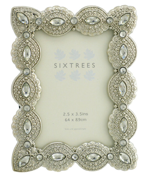 """Sixtrees Cecilia Antique Vintage and Shabby Chic Style silver metal photo frame with beads and crystals for a 3.5"""" x 2.5"""" (64 x 89mm) picture"""