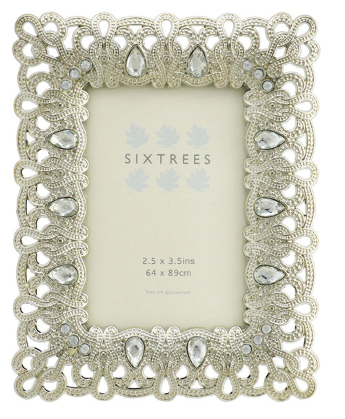 "Antique Vintage and Shabby Chic Style silver metal photo frame with beads and crystals for a 3.5"" x 2.5"" (64 x 89mm) picture -Diana by Sixtrees"
