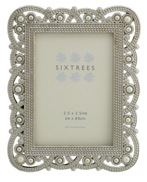 "Antique Vintage and Shabby Chic Style silver metal photo frame with beads and crystals for a 3.5"" x 2.5"" (64 x 89mm) picture -Louisa by Sixtrees"