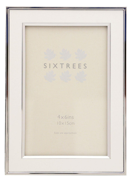 """Sixtrees 2-103-46 Abbey White Polished Silver photo frame with lacquered gloss metal insert for a 6"""" x 4"""" photo."""