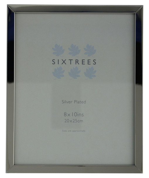 Sixtrees Elite Square Edge Silver Plated 10x8 inch (254x203mm Photo Frame