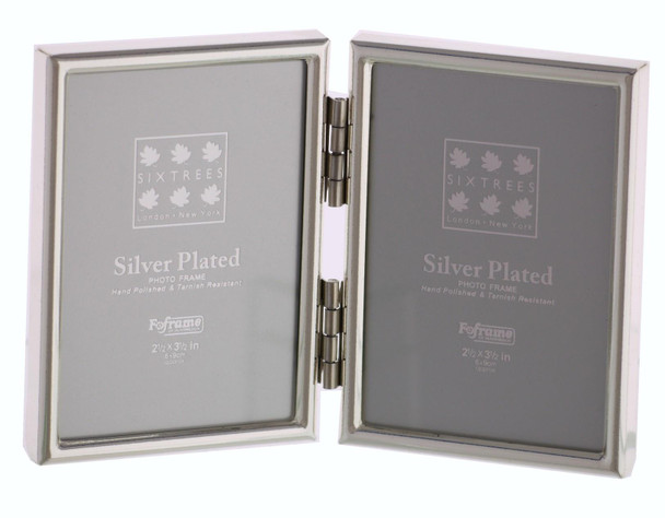 """Sixtrees Cambridge 2-400-02 Silver Plated Folding Photo Frame for two 3.5"""" x 2.5"""" (77mm x 51mm) Pictures"""