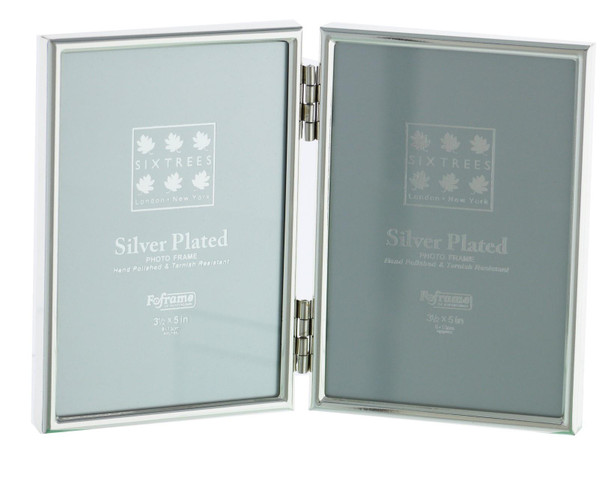 """Sixtrees Cambridge 2-400-03 Silver Plated Folding Photo Frame for two 5"""" x 3.5"""" (127mm x 89mm) Pictures"""