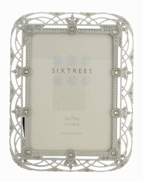 """Sixtrees Alice Antique Vintage and Shabby Chic Style silver metal photo frame with beads and crystals effect for a 7"""" x 5""""  picture."""
