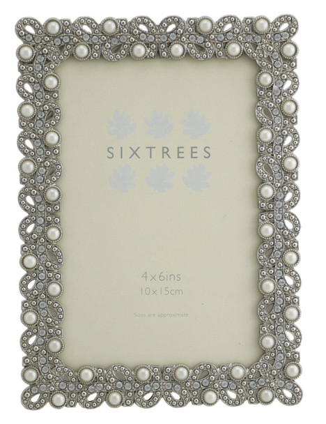 """Sixtrees Beatrice Antique Vintage and Shabby Chic Style silver metal photo frame with beads and crystals effect for a 6"""" x 4"""" (152 x 102mm) picture."""