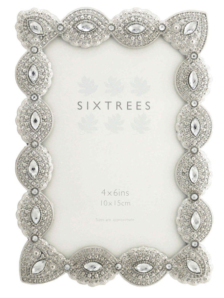 """Sixtrees Cecilia Antique Vintage and Shabby Chic Style silver metal photo frame with beads and crystals for a 6"""" x 4""""  picture"""