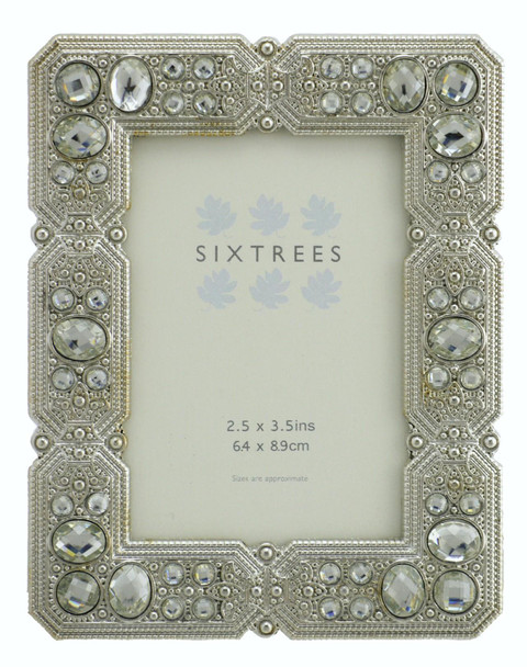 "Sixtrees Maud Antique Vintage and Shabby Chic Style silver metal photo frame with beads and crystals for a 3.5"" x 2.5"" picture."