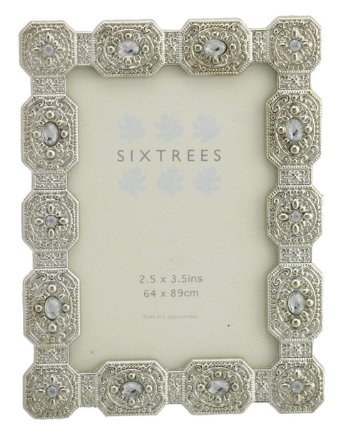 "Sixtrees Sarah Antique Vintage and Shabby Chic Style silver metal photo frame with beads and crystals for a 3.5"" x 2.5"" picture."