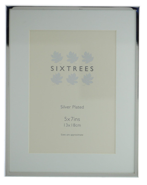 Sixtrees Park Lane 2-653-57 Silver Plated 7x5 inch Photo Frame With Mount.