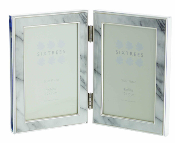 """Sixtrees Georgette 2-686-46HD Silver Plated Folding Photo Frame with Grey Marble effect insert for two 6"""" x 4"""" Pictures."""
