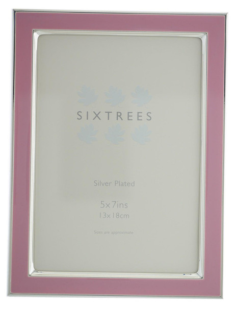 Sixtrees Kew 2-693-57 7x5 inch Silver Plated and Dusky Pink Enamel Photoframe.