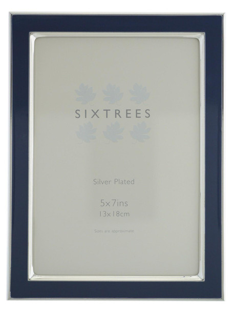 Sixtrees Kew 2-695-57 7x5 inch Silver Plated and Denim Blue Enamel Photoframe.