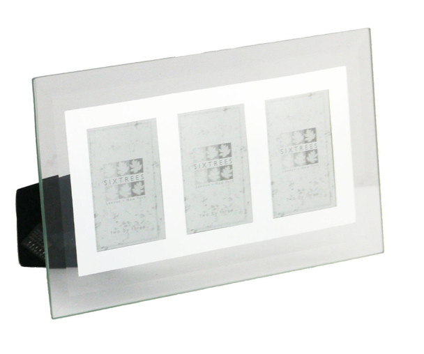 "Sixtrees Stanbridge GM172-3 Flat Bevelled Glass and Mirror Photo Frame fo Three 2"" x 3"" Photos."
