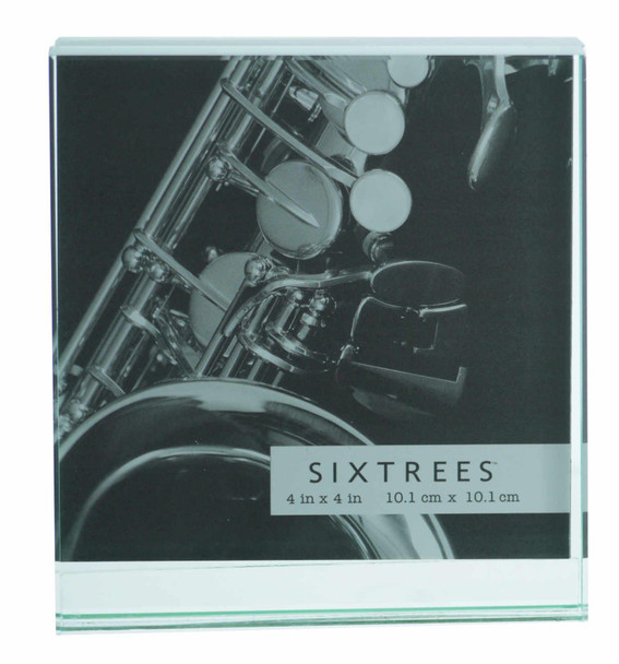 """Sixtrees GT602-44 Heavy Solid square cut Glass photo frame for two 4"""" x 4"""" pictures."""