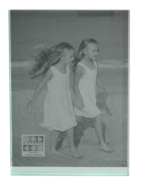 """Sixtrees GT602-68V Heavy Solid square cut Glass photo frame for two 6"""" x 8"""" pictures."""