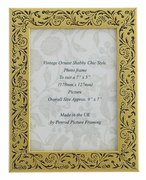 Iris Handmade Gold and Black Floral Vintage 7x5 inch Photo Frame.