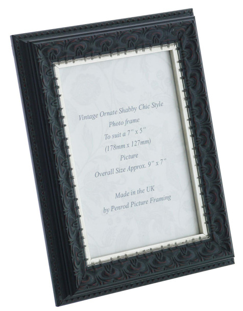 Juliet Black Handmade 7x5 inch Photo Frame. Black with Dark Brown Highlights and a Silver Rim Detail.