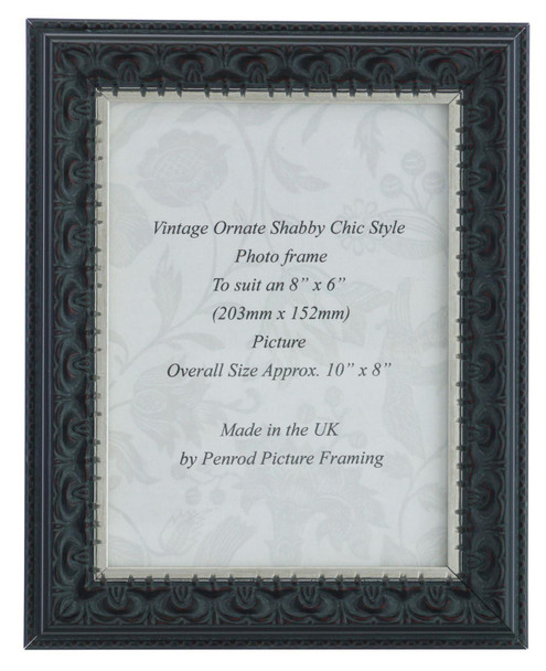 Juliet Black Handmade 8x6 inch Photo Frame. Black with Dark Brown Highlights and a Silver Rim Detail.