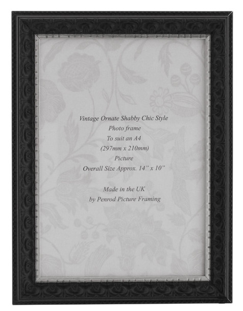Juliet Black Handmade A4  Photo Frame. Black with Dark Brown Highlights and a Silver Rim Detail.