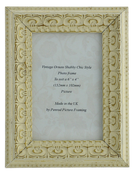 Juliet White Handmade Ornate Distressed Soft White Shabby Chic 6x4 inch Photo Frame with Gold Highlights