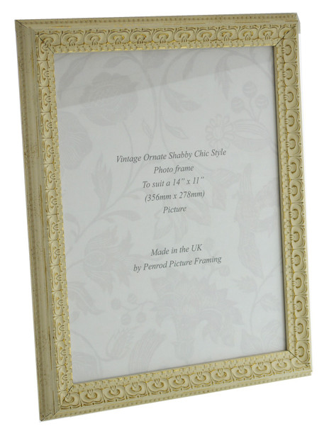 Juliet White Handmade Ornate Distressed Soft White Shabby Chic 16x12 inch Photo Frame with Gold highlights