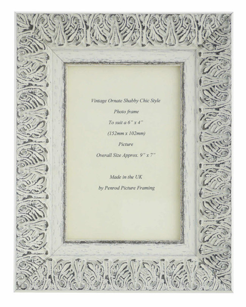 Lille 007  Handmade 6x4 inch Shabby Chic Photo Frame in Ornate Distressed White and Dark Grey Embossed Pattern.