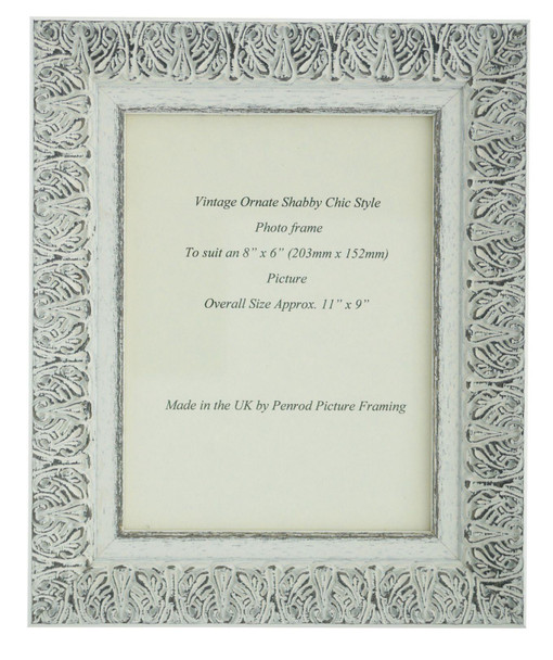 Lille 007  Handmade 8x6 inch Shabby Chic Photo Frame in Ornate Distressed White and Dark Grey Embossed Pattern.