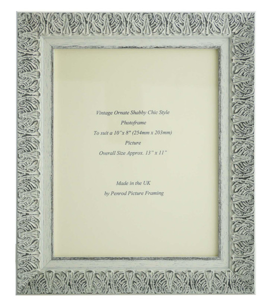 Lille 007  Handmade 10x8 inch Shabby Chic Photo Frame in Ornate Distressed White and Dark Grey Embossed Pattern.