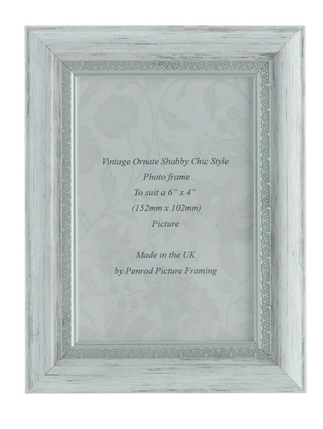 Positano Handmade Ornate Distressed White and Silver Shabby Chic Vintage 6x4 inch Photo Frame.
