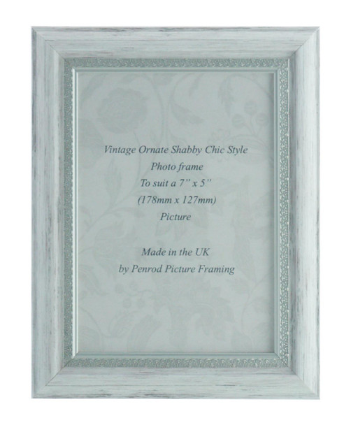 Positano Handmade Ornate Distressed White and Silver Shabby Chic Vintage 7x5 inch Photo Frame.