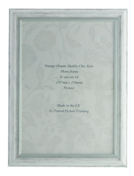 Positano Handmade Ornate Distressed White and Silver Shabby Chic Vintage A4 Photo Frame.