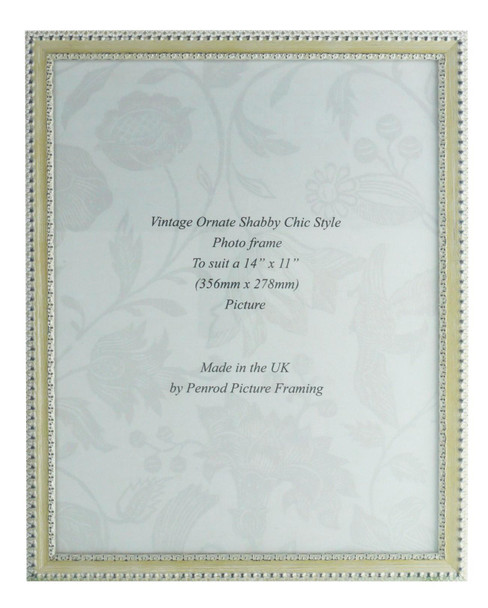 Salzburg Handmade Ornate Distressed Cream and Silver Shabby Chic 14x11 inch Photo Frame.