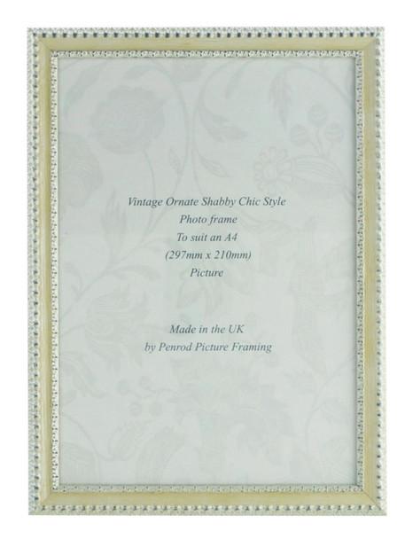 Salzburg Handmade Ornate Distressed Cream and Silver Shabby Chic A4 Photo Frame.