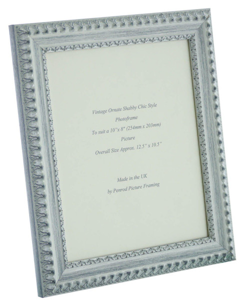 Salzburg Handmade Ornate Distressed White and Silver Shabby Chic 10x8 inch Photo Frame.