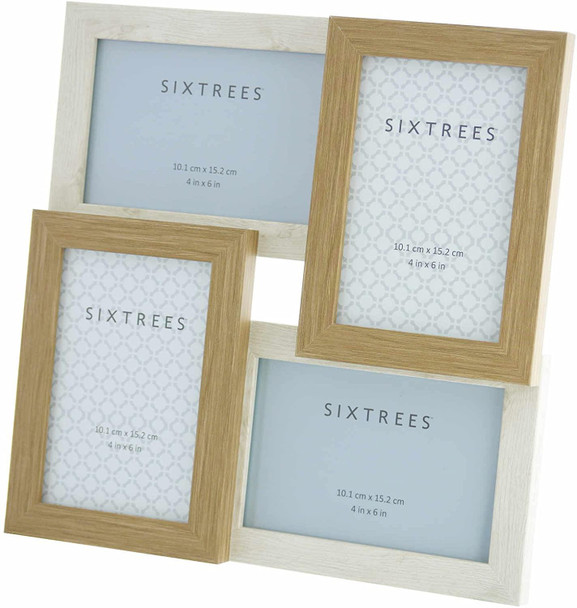 Sixtrees WD207-4C Star White/Oak Multi Aperture Photo Frame for Four 6x4 inch pictures.