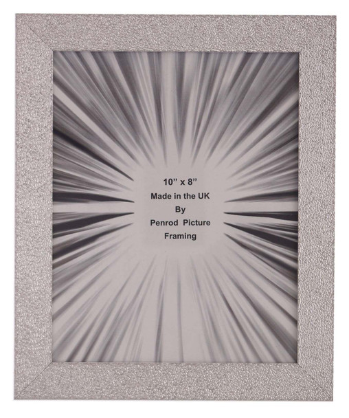 Penrod Picture Framing Charleston Shiny Embossed Sparkly Silver 10x8 inch photo frame with mirror effect edge.