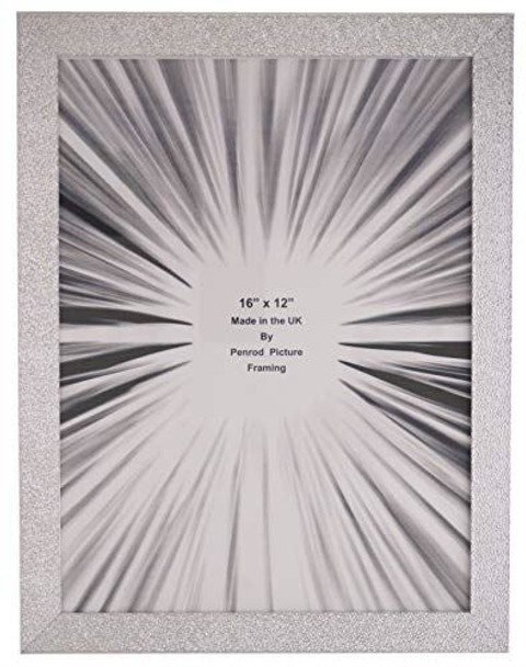 Charleston Shiny Embossed Sparkly Silver 16x12 inch photo frame with mirror effect edge.