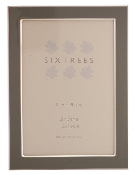 Sixtrees Kew 2-696-57 Silver Plated and Grey Enamel Photoframe