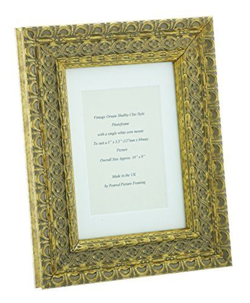 """Handmade Ornate Distressed Antique Gold Shabby Chic Vintage Picture Frame with a single mount for a 5"""" x 3.5"""" (127mm x 89mm) Photo"""