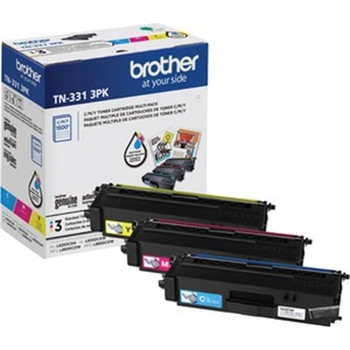 Brother Genuine Standard-Yield Color Toner Cartridge Three Pack TN331 3PK -includes one cartridge each of Cyan, Magenta & Yellow Toner