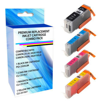 eReplacements 6513B004-ER Remanufactured High Yield Ink Cartridge Replacement for Canon 251XL Black/Cyan/Magenta/Yellow Black/Color Combo Pack