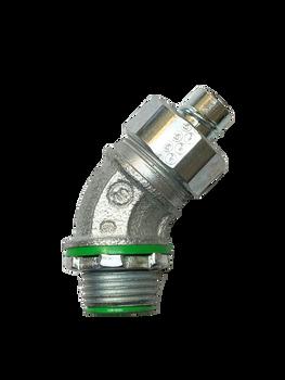"Anaconda Sealtite® 3/8"" Iron Steel (Lock Nut) Compact Liquid-Tight Flexible 45° Metal Conduit (LFMC) Elbow"