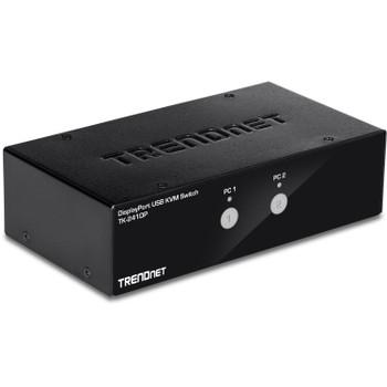 TRENDnet 2-Port DisplayPort KVM Switch, DisplayPort 1.2 KVM, Connect and Control Two Computers, Supports 4K UHD Resolution, 3840 x 2160 at 60Hz, 2-Port USB 2.0 Hub, Black, TK-241DP