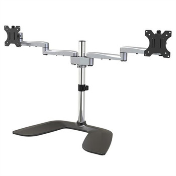 StarTech.com Dual Monitor Stand - Ergonomic Desktop Monitor Stand for up to 32 inch VESA Displays - Free-Standing Adjustable Mount -Silver