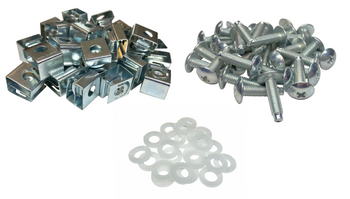 RackGold® 10-32 Rack Slide-on Cage Nut & Screws w/ Washers 25-Pack USA Made