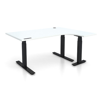 """Adjustable Height L-Shaped Ergonomic Executive Office Desk - Right 48"""" x 72"""" L Shaped - Sit, Stand, Move!"""