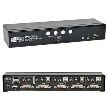 Tripp Lite 4-Port DVI/USB KVM Switch Dual Link w/ Audio & Cables