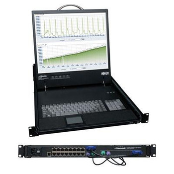 "Tripp Lite 16-Port Rack Console Cat5 KVM Switch 1U RM 19"" LCD Rackmount"